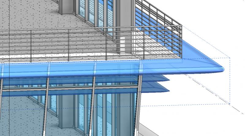 Modeling an exterior building horizontal solar fin using Revit 2021